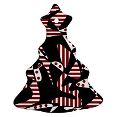 Red, black and white abstraction Ornament (Christmas Tree)