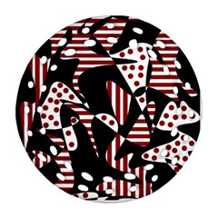 Red, black and white abstraction Round Filigree Ornament (2Side)
