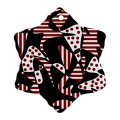 Red, black and white abstraction Snowflake Ornament (2-Side)