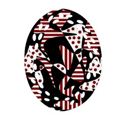 Red, Black And White Abstraction Oval Filigree Ornament (2 Side)