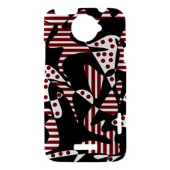 Red, black and white abstraction HTC One X Hardshell Case