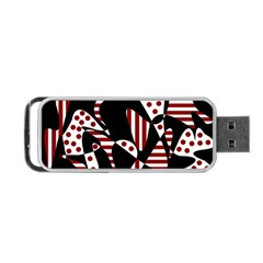 Red, black and white abstraction Portable USB Flash (Two Sides)