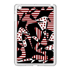 Red, black and white abstraction Apple iPad Mini Case (White)