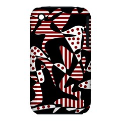 Red, Black And White Abstraction Apple Iphone 3g/3gs Hardshell Case (pc+silicone)