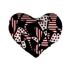 Red, black and white abstraction Standard 16  Premium Heart Shape Cushions