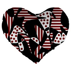 Red, black and white abstraction Large 19  Premium Heart Shape Cushions