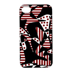 Red, black and white abstraction Apple iPhone 4/4S Hardshell Case with Stand