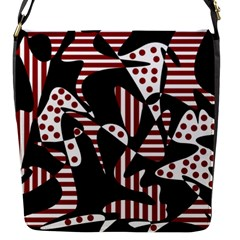 Red, black and white abstraction Flap Messenger Bag (S)