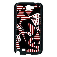 Red, black and white abstraction Samsung Galaxy Note 2 Case (Black)