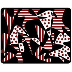 Red, black and white abstraction Double Sided Fleece Blanket (Medium)