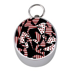 Red, black and white abstraction Mini Silver Compasses