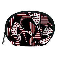 Red, black and white abstraction Accessory Pouches (Medium)