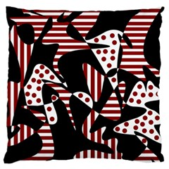 Red, black and white abstraction Large Flano Cushion Case (Two Sides)