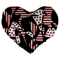 Red, black and white abstraction Large 19  Premium Flano Heart Shape Cushions