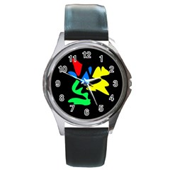 Colorful abstraction Round Metal Watch