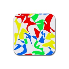 Colorful abstraction Rubber Coaster (Square)