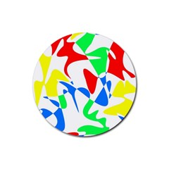 Colorful abstraction Rubber Round Coaster (4 pack)