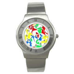 Colorful abstraction Stainless Steel Watch