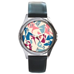 Blue, pink and purple pattern Round Metal Watch