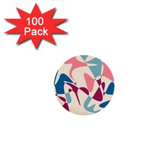 Blue, pink and purple pattern 1  Mini Buttons (100 pack)
