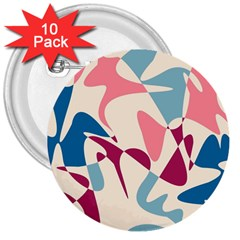 Blue, pink and purple pattern 3  Buttons (10 pack)