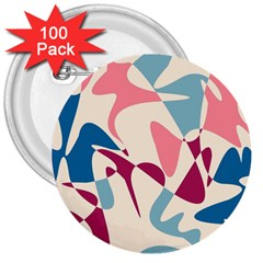 Blue, pink and purple pattern 3  Buttons (100 pack)