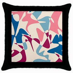 Blue, pink and purple pattern Throw Pillow Case (Black)