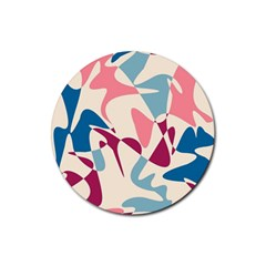 Blue, pink and purple pattern Rubber Coaster (Round)