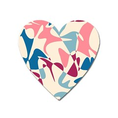 Blue, pink and purple pattern Heart Magnet