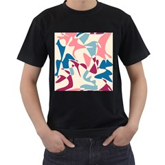 Blue, pink and purple pattern Men s T-Shirt (Black) (Two Sided)