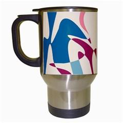 Blue, pink and purple pattern Travel Mugs (White)