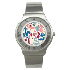 Blue, pink and purple pattern Stainless Steel Watch