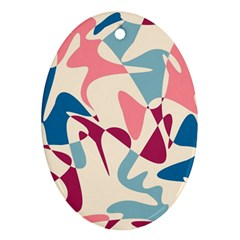 Blue, pink and purple pattern Oval Ornament (Two Sides)