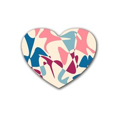 Blue, pink and purple pattern Rubber Coaster (Heart)