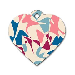Blue, pink and purple pattern Dog Tag Heart (One Side)