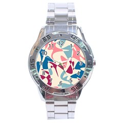 Blue, pink and purple pattern Stainless Steel Analogue Watch