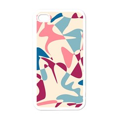 Blue, pink and purple pattern Apple iPhone 4 Case (White)