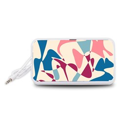 Blue, pink and purple pattern Portable Speaker (White)