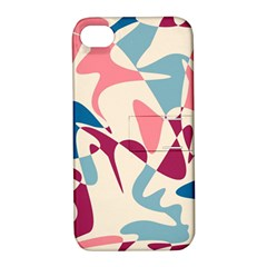 Blue, pink and purple pattern Apple iPhone 4/4S Hardshell Case with Stand