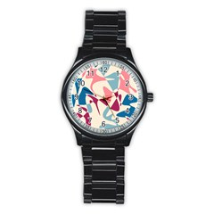 Blue, pink and purple pattern Stainless Steel Round Watch