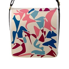 Blue, pink and purple pattern Flap Messenger Bag (L)