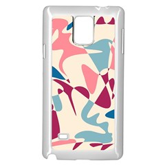 Blue, pink and purple pattern Samsung Galaxy Note 4 Case (White)