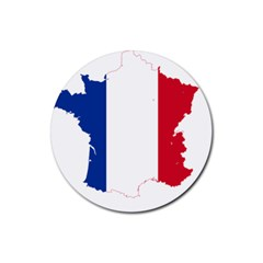 Flag Map Of France Rubber Coaster (Round)