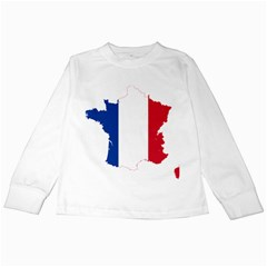 Flag Map Of France Kids Long Sleeve T-Shirts