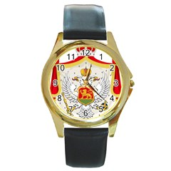 Coat Of Arms Of Kingdom Of Montenegro, 1910 1918 Round Gold Metal Watch