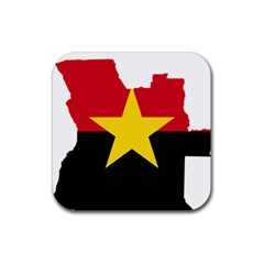 Mpla Flag Map Of Angola  Rubber Square Coaster (4 pack)