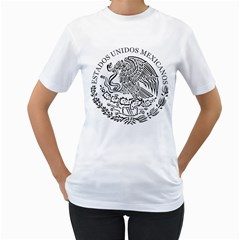 National Seal Of Mexico Women s T-Shirt (White) (Two Sided)