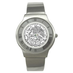 National Seal Of Mexico Stainless Steel Watch