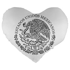 National Seal Of Mexico Large 19  Premium Heart Shape Cushions