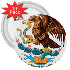 Coat Of Arms Of Mexico  3  Buttons (10 pack)